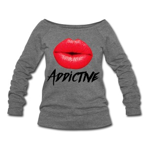 Sassy Red Lips Lipstick Addictive Women's Off Shoulder Sweatshirt  - Women's Wideneck Sweatshirt