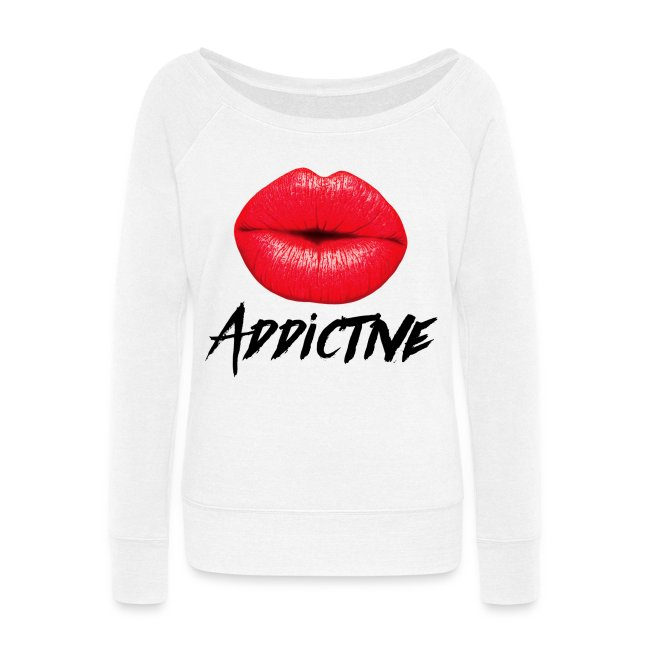 41bdca1ab1bf9 Sassy Red Lips Lipstick Addictive Women s Off Shoulder Sweatshirt