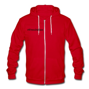 #FreeJulian - Unisex Fleece Zip Hoodie by American Apparel