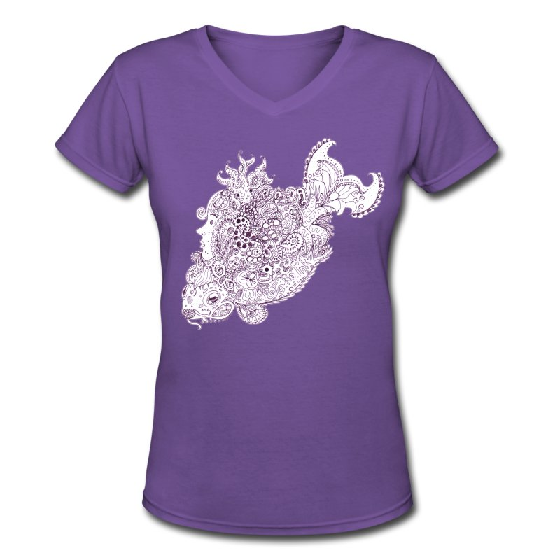 Doodlefish - Women's V-Neck T-Shirt