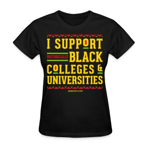 I Support HBCUs - Women's Red, Black, Green, and Gold T-shirt - Women's T-Shirt