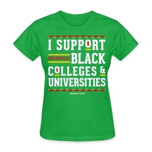 I Support HBCUs - Women's Green, Red, White, and Gold T-shirt - Women's T-Shirt