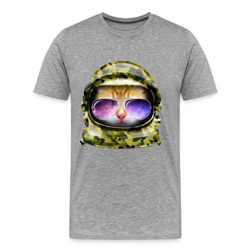 Kitty in Space Green Camo - Men's Premium T-Shirt