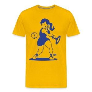 Tennis girl hitting a backhand T-Shirts - Men's Premium T-Shirt