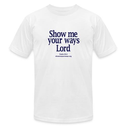 Men's T-Shirt by American Apparel - Navy on White - Men's Fine Jersey T-Shirt