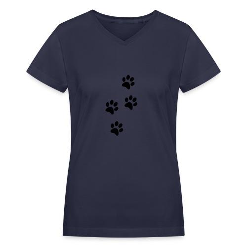 Women's V-neck Paw Prints Tee  - Women's V-Neck T-Shirt