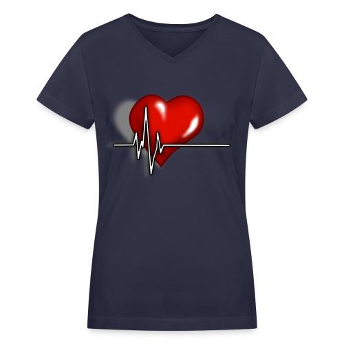 Women's V-neck Heart Pulse Tee - Women's V-Neck T-Shirt