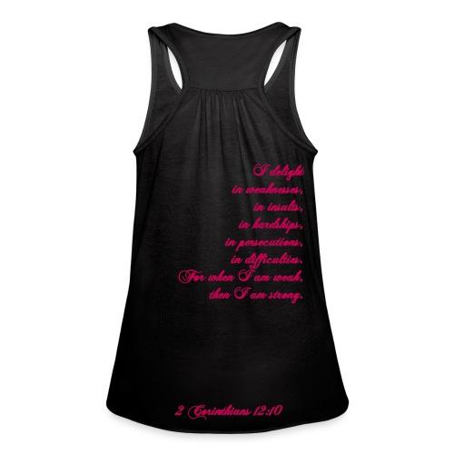 Women's Loose Tank - Black - 2 Corinthians 12:10 - Women's Flowy Tank Top by Bella