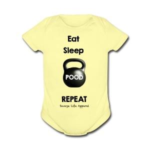 Eat, Sleep, Pood - Short Sleeve Baby Bodysuit