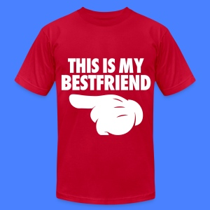 This Is My Bestfriend (Pointing Left) T-Shirts - Men's T-Shirt by American Apparel