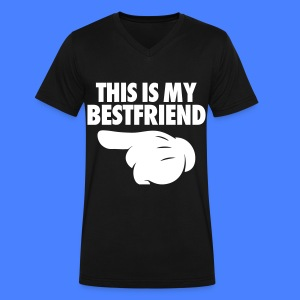 This Is My Bestfriend (Pointing Left) T-Shirts - Men's V-Neck T-Shirt by Canvas
