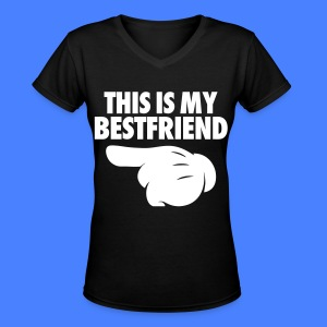 This Is My Bestfriend (Pointing Left) Women's T-Shirts - Women's V-Neck T-Shirt