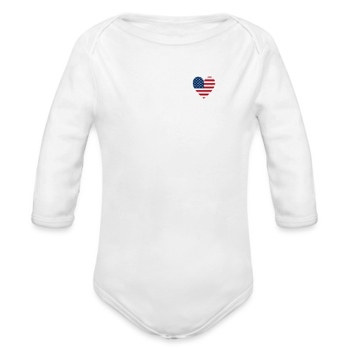 USAts American Flag Heart RWB LOVE - Organic Long Sleeve Baby Bodysuit