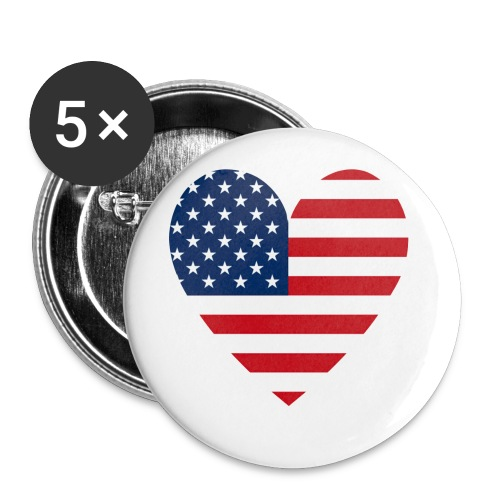 USAts American Flag Heart RWB LOVE - Buttons large 2.2'' (5-pack)