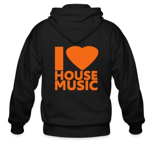 I Love House Music (Back) - Men's Zip Hoodie