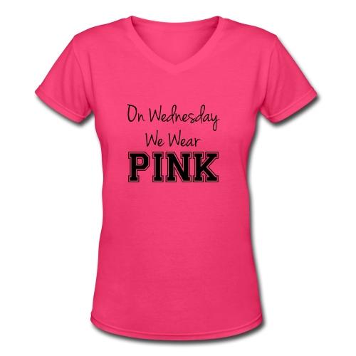 Pink - Women's V-Neck T-Shirt