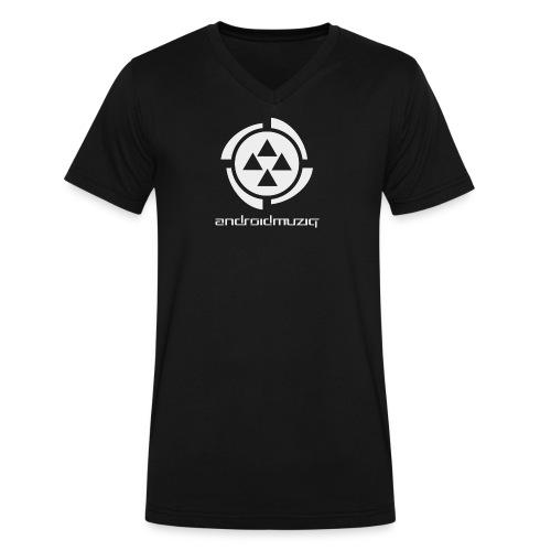 Android Muziq label T-shirt, V-Neck / Black - Men's V-Neck T-Shirt by Canvas