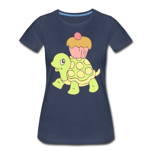 Turtle with Cupcake - Women's Premium T-Shirt