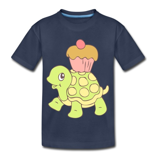 Turtle with Cupcake - Toddler Premium T-Shirt