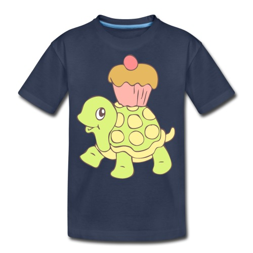 Turtle with Cupcake - Kids' Premium T-Shirt