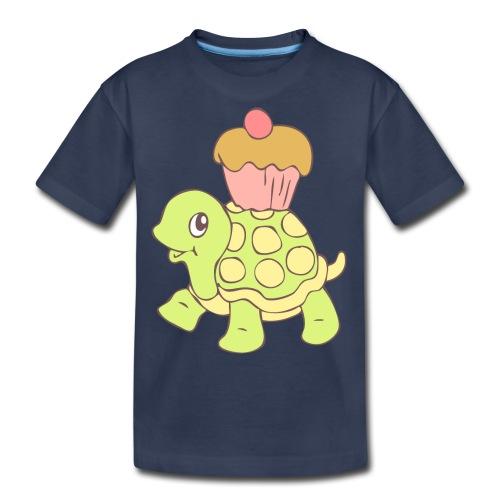 Turtle with Cupcake - Kids' Premium T-Shirt