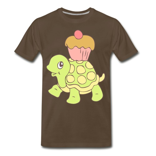 Turtle with Cupcake - Men's Premium T-Shirt