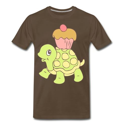 Turtle with Cupcake - Men's Premium T-Shirt