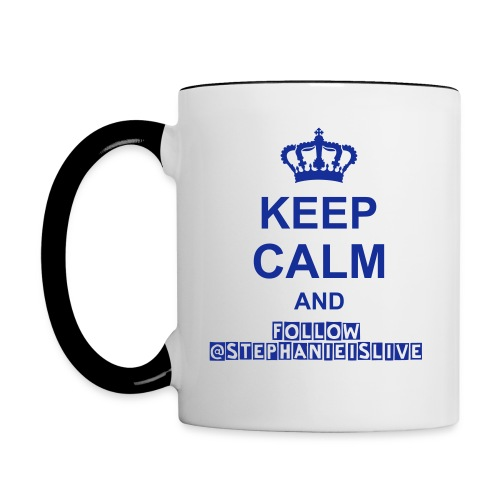 KEEP CALM and Follow @StephanieIsLive  - Contrast Coffee Mug