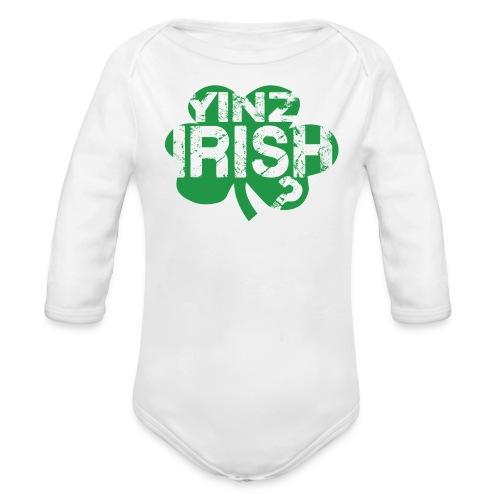 Yinz Irish? Baby - Green Cutout - Organic Long Sleeve Baby Bodysuit