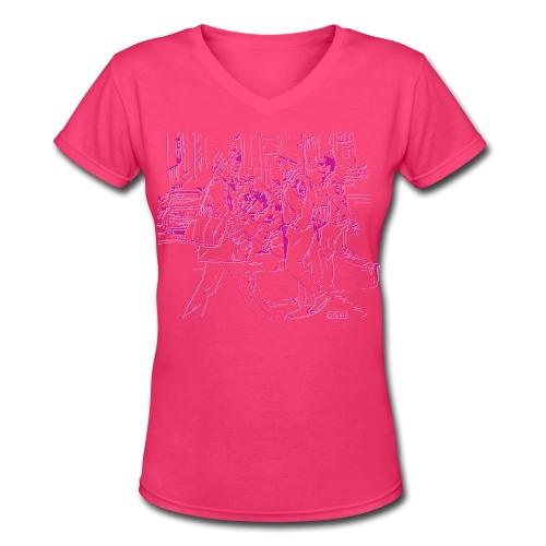 Crosswalk - Women's V-Neck T-Shirt