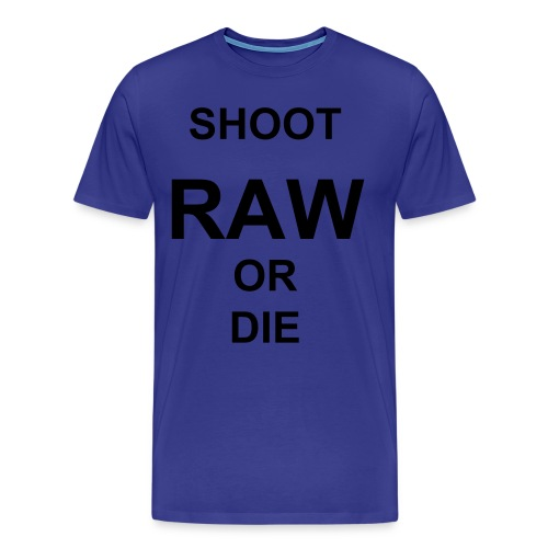 SHOOT RAW! (Black Text) - Men's Premium T-Shirt