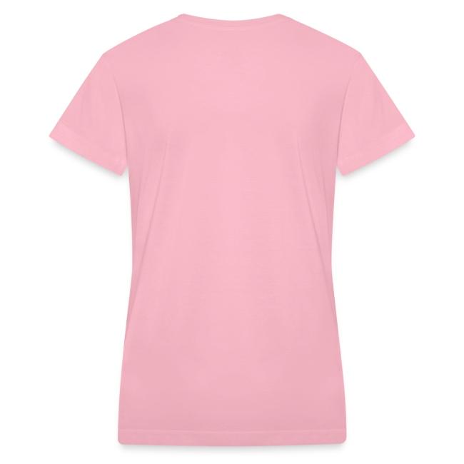 Women's V-Neck T-Shirt (White Print)