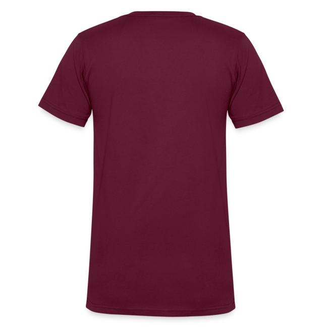 Men's V-Neck T-Shirt (White Print)