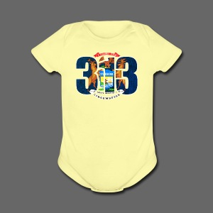 313 Michigan Flag - Short Sleeve Baby Bodysuit