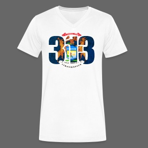 313 Michigan Flag - Men's V-Neck T-Shirt by Canvas