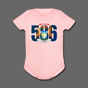 586 Michigan Flag - Short Sleeve Baby Bodysuit