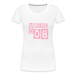 (fitted tee) 1908 Alpha Kappa Alpha - pink lettering - Women's Premium T-Shirt