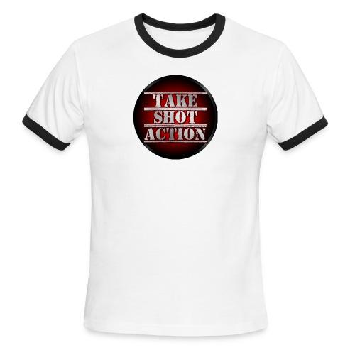 TakeShotAction Male T-Shirt - Men's Ringer T-Shirt