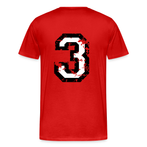 Number Three T-Shirt No.3 (Men Red) Back - Men's Premium T-Shirt