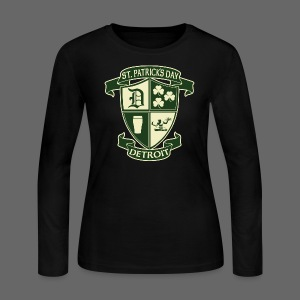 St. Patricks Day Detroit Irish Crest  - Women's Long Sleeve Jersey T-Shirt