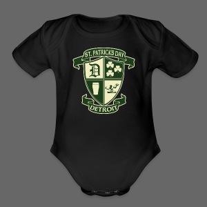 St. Patricks Day Detroit Irish Crest  - Short Sleeve Baby Bodysuit