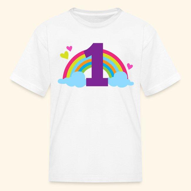 1st Birthday Rainbow Kids T Shirt