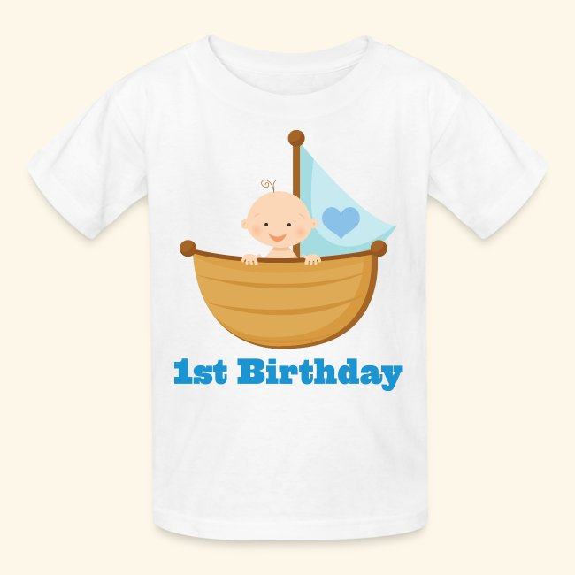 1st Birthday Boy Kids T Shirt Sailboat