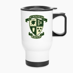 St. Paticks Day Boston Irish Crest  Bottles & Mugs