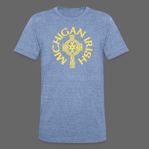 Michigan Irish Celtic Cross - Unisex Tri-Blend T-Shirt