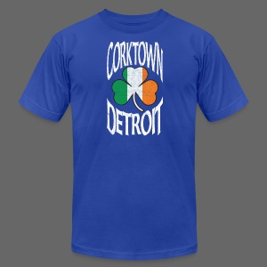 Corktown Detroit Shamrock Irish Flag - Men's T-Shirt by American Apparel
