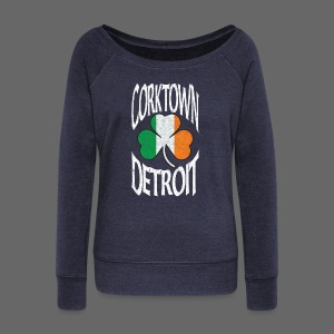 Corktown Detroit Shamrock Irish Flag - Women's Wideneck Sweatshirt