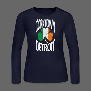 Corktown Detroit Shamrock Irish Flag - Women's Long Sleeve Jersey T-Shirt