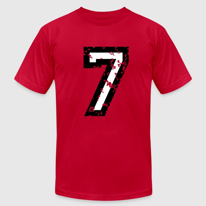 Number Seven T-Shirt No.7 (Men Red)  - Men's T-Shirt by American Apparel