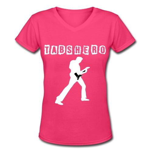 Tabs Hero Pink Women Shirt - Women's V-Neck T-Shirt